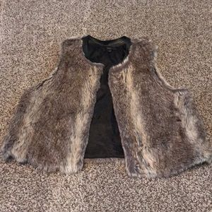 Faux Fur Best with Faux Leather Trim